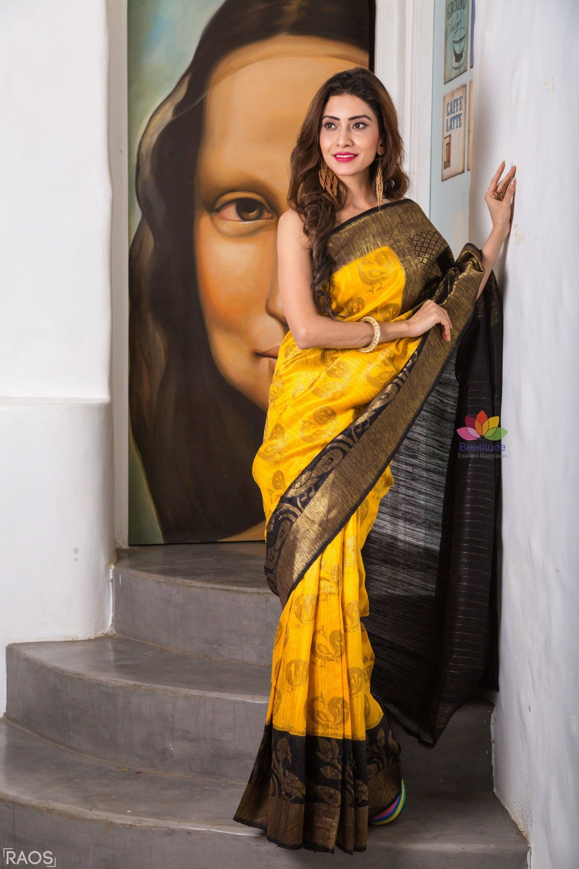 Yellow Ghicha Silk Saree with Blue Border