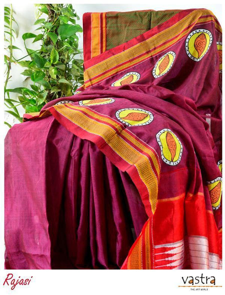Hand Block Printed Ilkal Cotton Blended Saree-RAJASI-Vastra