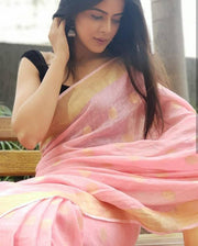 Baby Pink Handwoven Linen Saree with Gold Tone Design-SALE-Beatitude Label