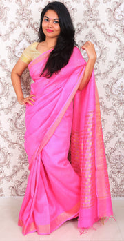 Baby Pink Handwoven Noil Silk Saree-SALE-Beatitude Label