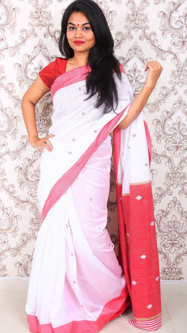 Handwoven Cotton Silk Saree-Saree-Beatitude Label