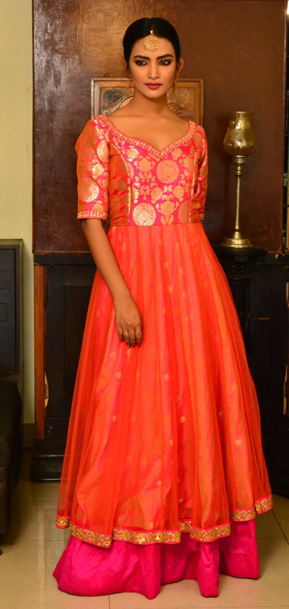 Pink and Orange Banarasi Brocade Handcrafted Net Anarkali Dress