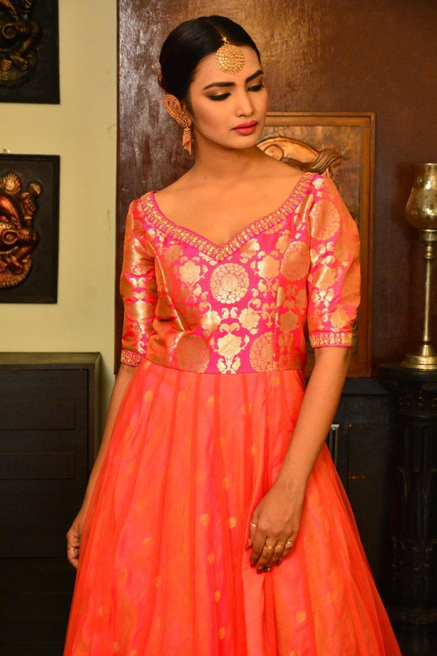 Pink and Orange Banarasi Brocade Handcrafted Net Anarkali Dress-Indo Western-Chandri