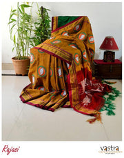 Mustard Yellow Hand Block Printed Ilkal Cotton Blended Saree
