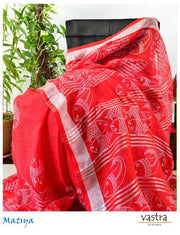 Red Hand Block Printed Linen Saree