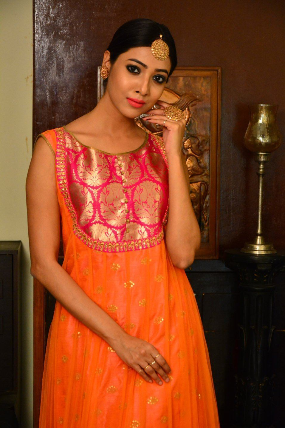 Pink and Orange  Net Handcrafted Long Dress