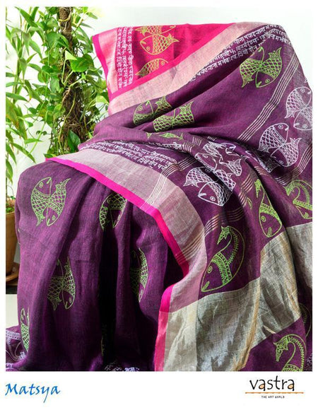 Purple Hand Block Printed Linen Saree