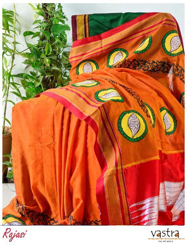 Orange Hand Block Printed Ilkal Cotton Blended Saree