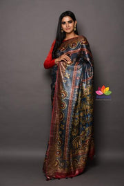 Multicolor Handwoven Printed Tussar Silk Saree