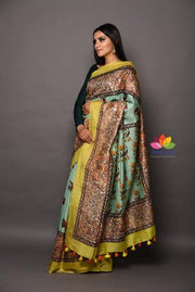 Multicolor Handwoven Printed Muga Tussar Silk Saree