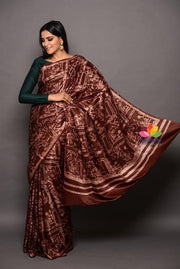 Dark Maroon Gajji Silk Batik Saree-April Collection-Beatitude Label