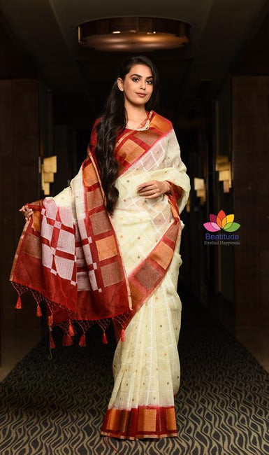 Cream White Shade Handwoven Linen Banarasi Saree-January Collection-Beatitude Label