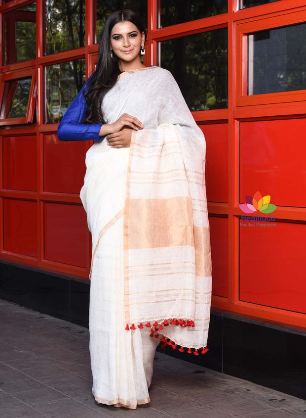 Embroidered White Linen Saree Always Buy Good Other Women's Clothing Clothing, Shoes & Accessories