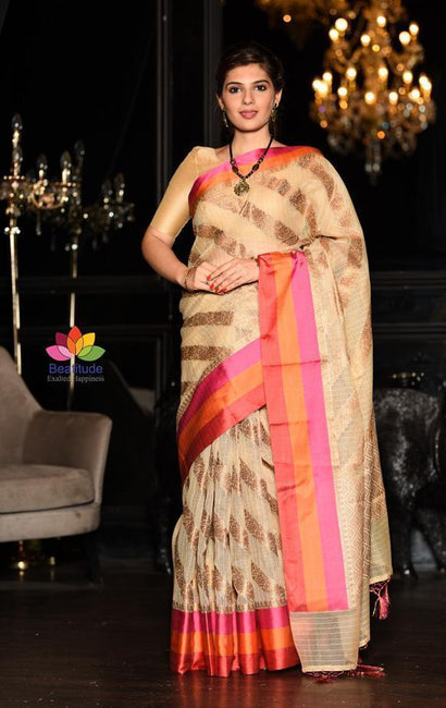 Beige Shade Handwoven Kota Cotton Banarasi Saree-January Collection-Beatitude Label