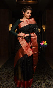 Black Handwoven Chanderi Silk Saree-January Collection-Beatitude Label