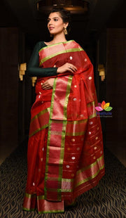 Red Shade Handwoven Chanderi Silk Saree