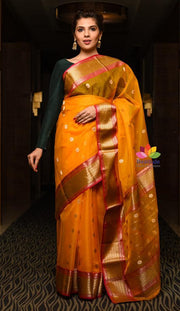 Orangish Yellow Shade Handwoven Chanderi Silk Saree