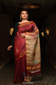 Maroon Shade Handwoven Dupion Raw Silk Saree