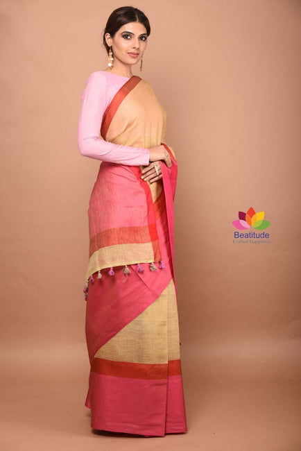Beige Shade Handwoven Linen Saree-April Collection-Beatitude Label
