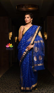 Blue Shade Handwoven Chanderi Silk Saree-January Collection-Beatitude Label