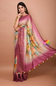 Multicolor Handwoven Muga Tussar Silk Printed Saree