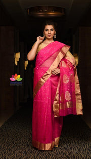 Pink Shade Handwoven Chanderi Silk Saree