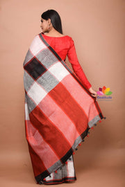Multicolor Handwoven Checkered Linen Saree