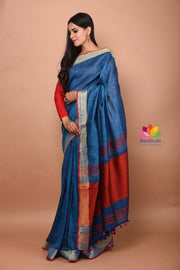 Blue Shade Handwoven Linen Saree-April Collection-Beatitude Label