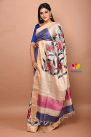 Blue Tussar Silk Hand Painted Saree-April Collection-Beatitude Label