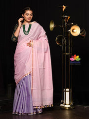 Double Shaded Handwoven Cotton Saree-January Collection-Beatitude Label