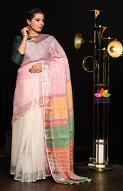 Double Shaded Handwoven Linen Saree-January Collection-Beatitude Label