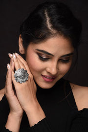 Handcrafted Indo Western Classic Ring with Two Tone Plating