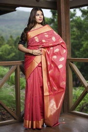 Pink Shade Banarasi Chanderi Silk Handwoven Saree