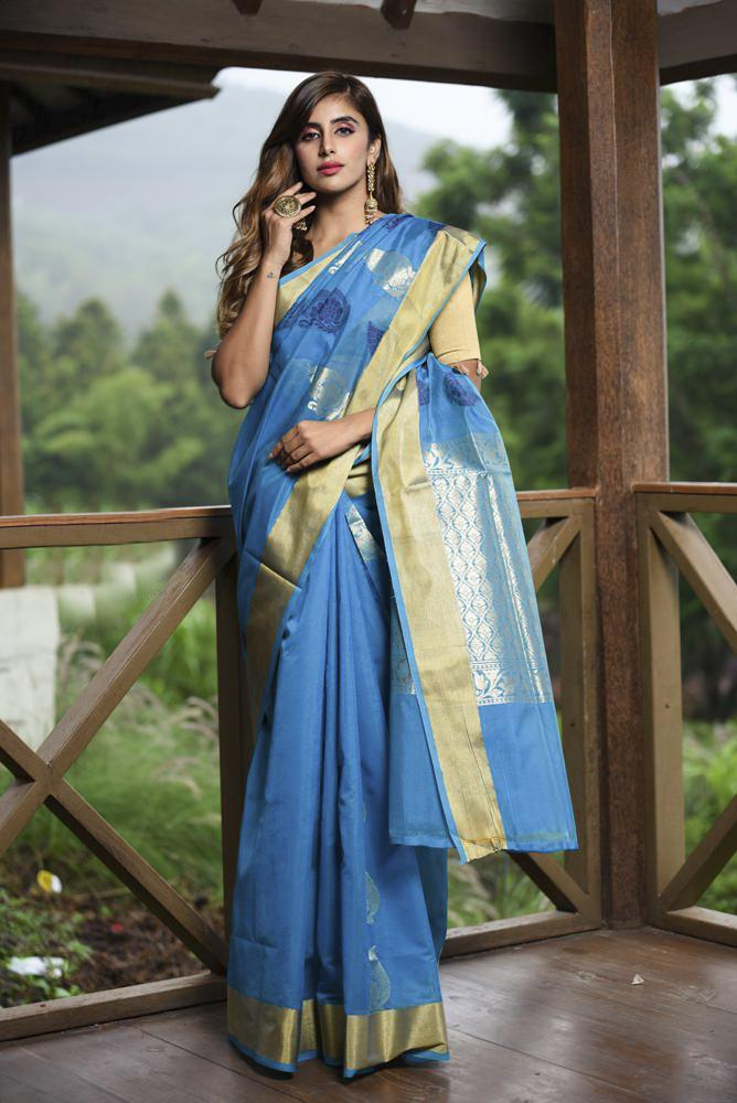 Blue Shade Banarasi Chanderi Silk Handwoven Saree