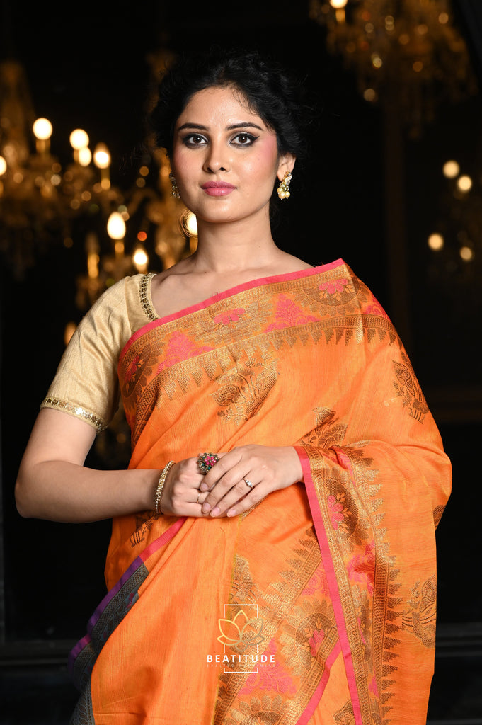 Orange Shade Desi Tussar Banarasi Handwoven Saree