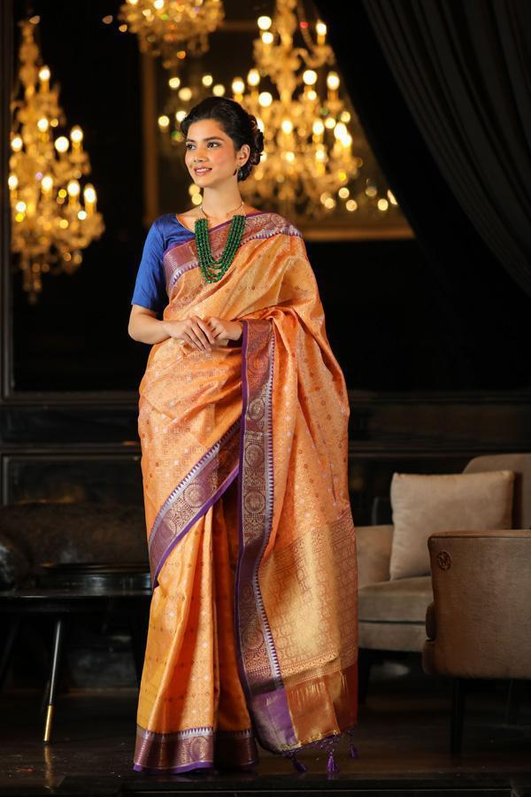 Orange Handwoven Kora Muslin Banarasi Saree