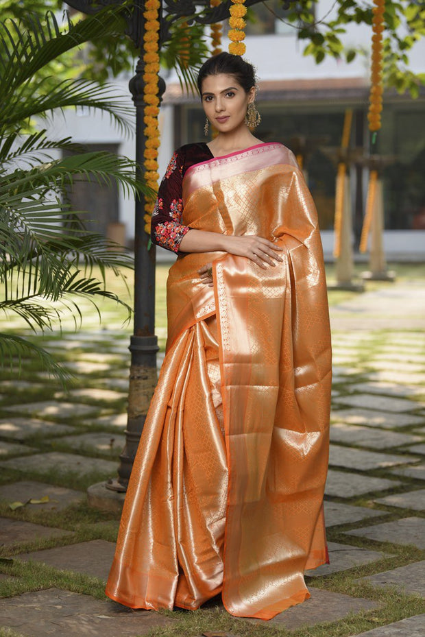 Orange Shade Organza Tissue Handwoven Banarasi Saree