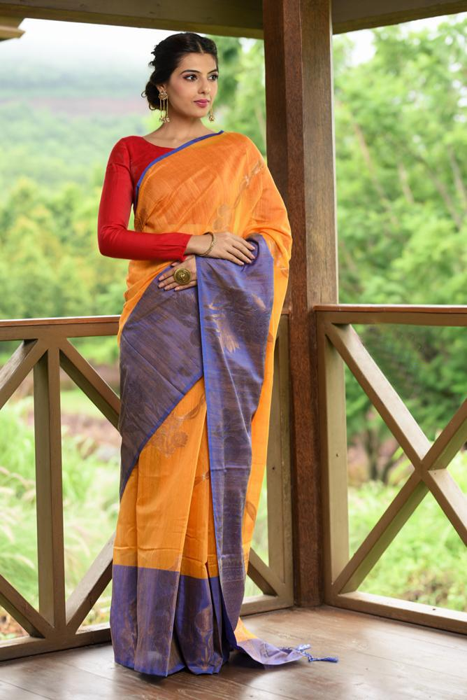 Yellow Shade Banarasi Tussar Silk Handwoven Saree