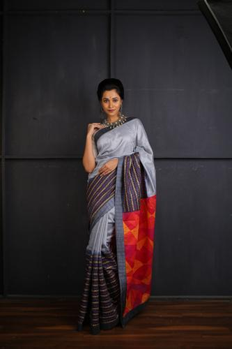 Muga Silk Shaded Light Grey and Deep Grey with Hand Embroidery Work