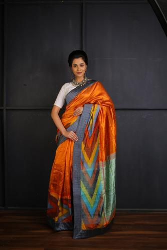 Orange and Multi Coloured Ikkat with Kantha Stitch Work