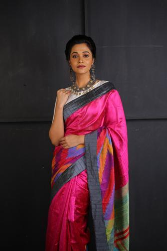 Rani and Multi Coloured Ikkat with Kantha Stitch Work
