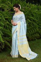 Blue Handwoven Linen Saree with Gold Tone Design