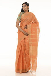 Orange Handwoven Linen Saree with Golden Zari Border