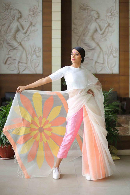 White Shade Sunflower Designer Handwoven Resham Jamdani Saree