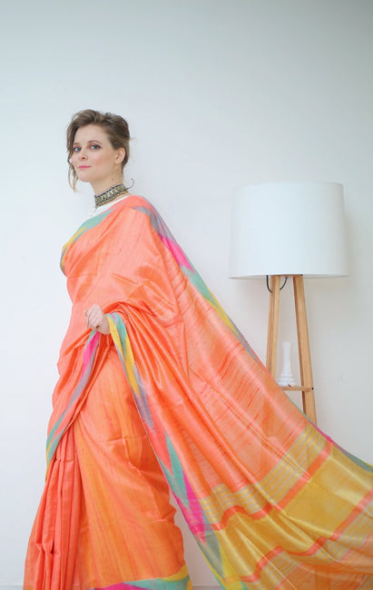 Peach Saree with Multi Colored Woven Ikkat Weaves