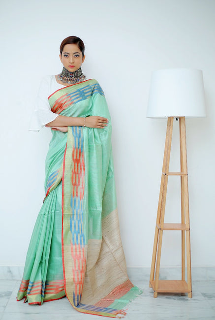 Sea Green Saree With Multi Colored Woven Ikkat Weaves