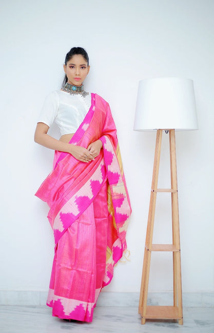 Pink Saree with Pink & White Woven Ikkat Weaves