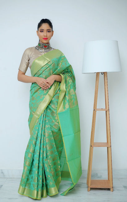 Lime Green Saree with Antique Gold Floral Jaal Work Woven Allover.