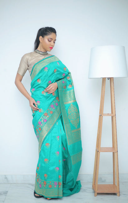 Sea Green Saree With Multi-Colored Floral Work Woven Allover