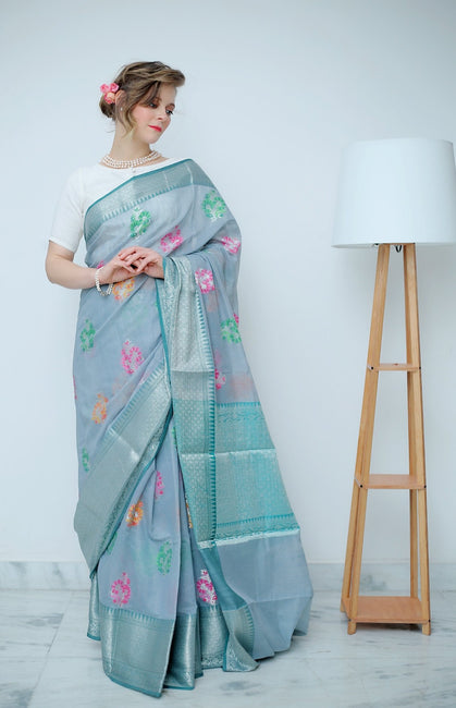 Grey Saree with Multi Colored Floral Work Woven Allover